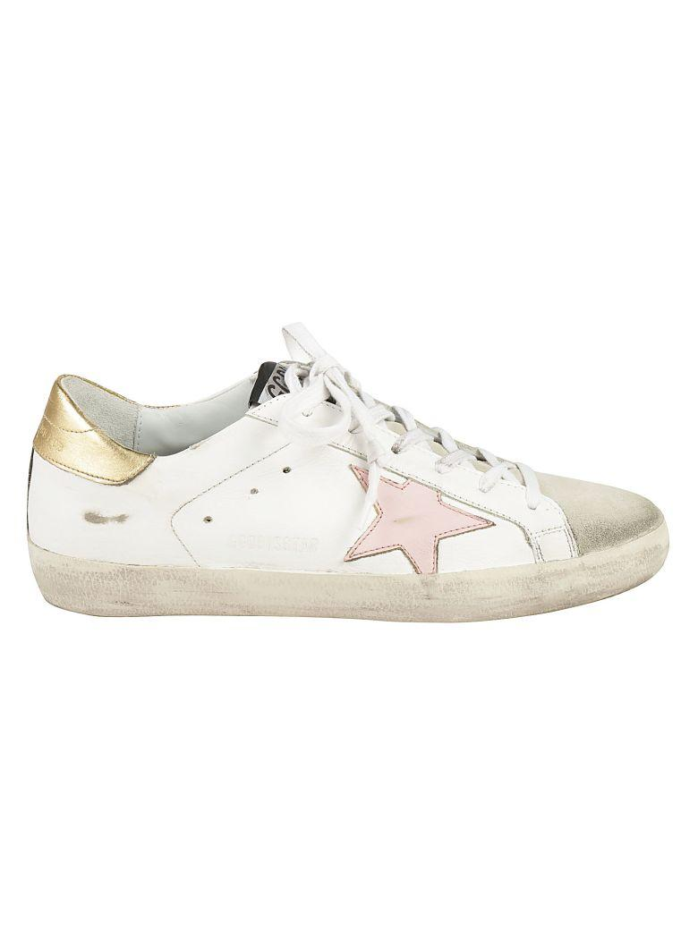 Golden Goose Superstar Sneakers In White-gold-pink