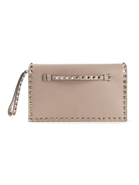 Valentino Rockstud Small Leather Clutch In Neutral