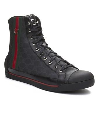Gucci Men's Coated Canvas Leather High Top Sneaker Shoes Black