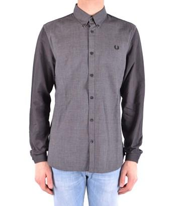 Fred Perry Men's  Grey Cotton Shirt