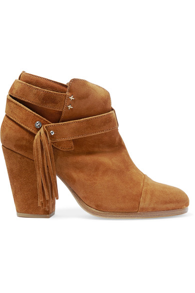 Rag & Bone Harrow Fringed Suede Ankle Boots In Tan Suede