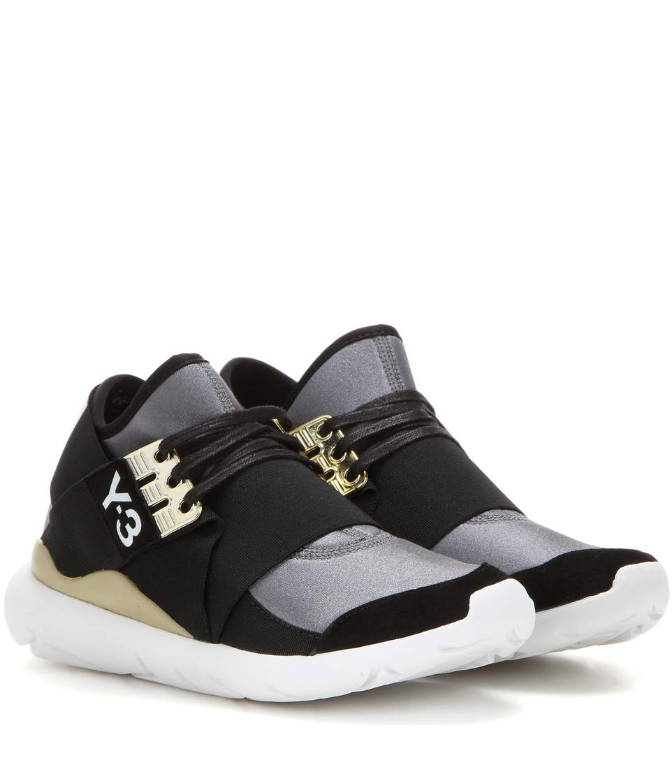 da509acb0 Y-3 Qasa Elle Lace Neoprene Sneakers In Eight Metallic