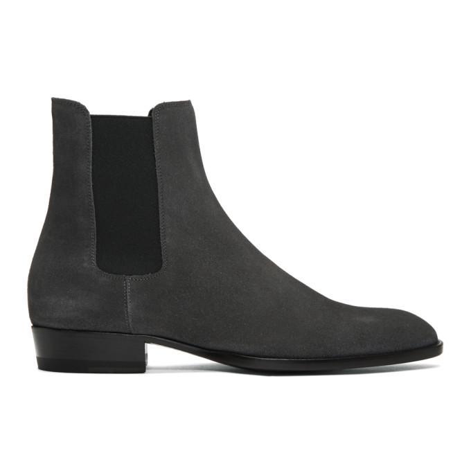 186e03dac26 Saint Laurent Grey Suede Wyatt Chelsea Boots In 1109 Asphal   ModeSens