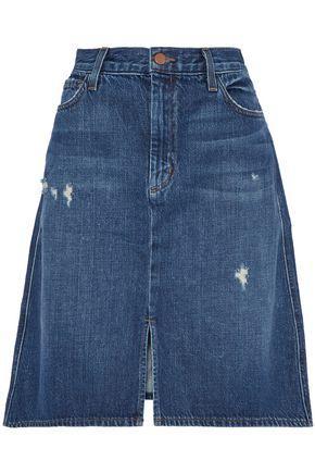 J Brand Woman Distressed Denim Skirt Mid Denim