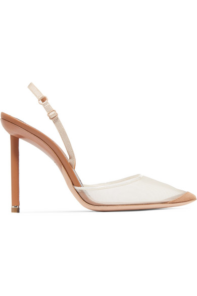 Alexander Wang Alix Mesh And Suede Slingback Pumps In Neutral