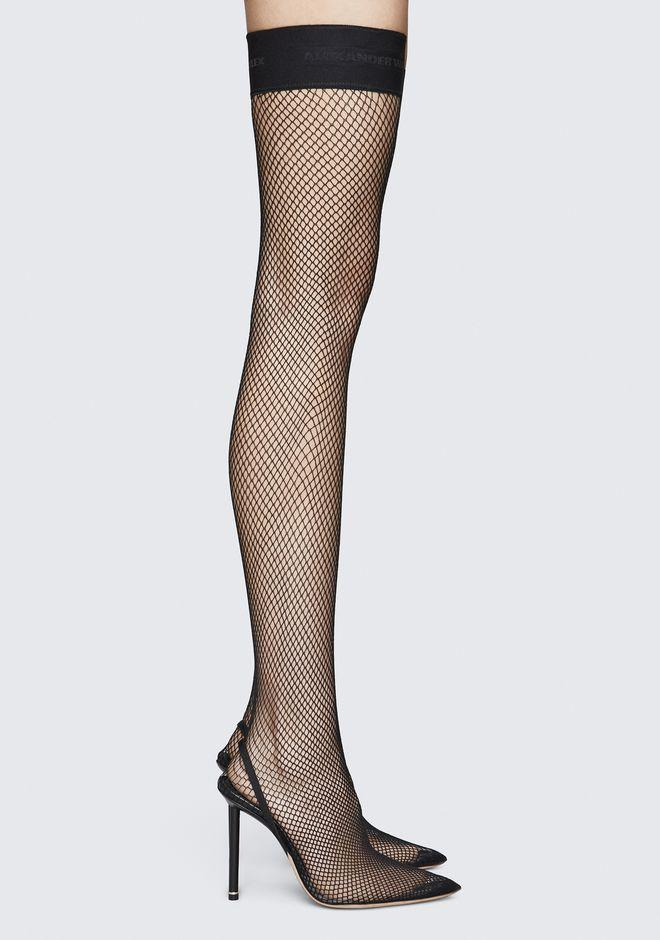 7fcb1b28c03 Alexander Wang Cleo Suede And Leather-Trimmed Fishnet Over-The-Knee Sock  Boots
