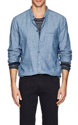 John Varvatos Denim-Effect Linen-Cotton Slim Shirt