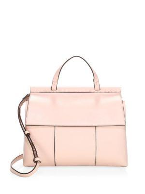 dd3b60e12bad Tory Burch Block T Leather Top Handle Satchel - Pink In Shell Pink  Goan  Sand
