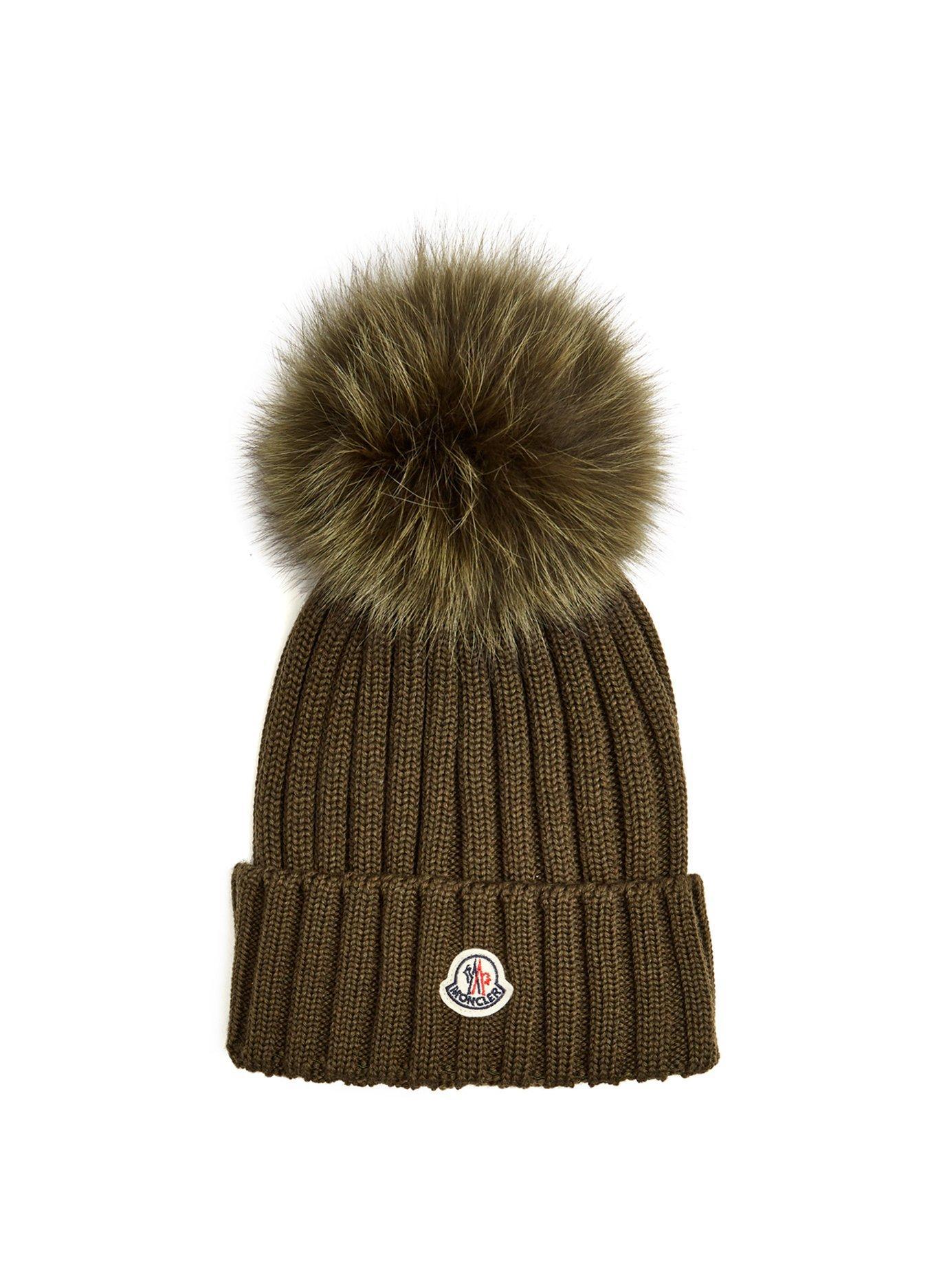 0ded552e095 Moncler Grey Wool Beanie Hat With Pom Pom