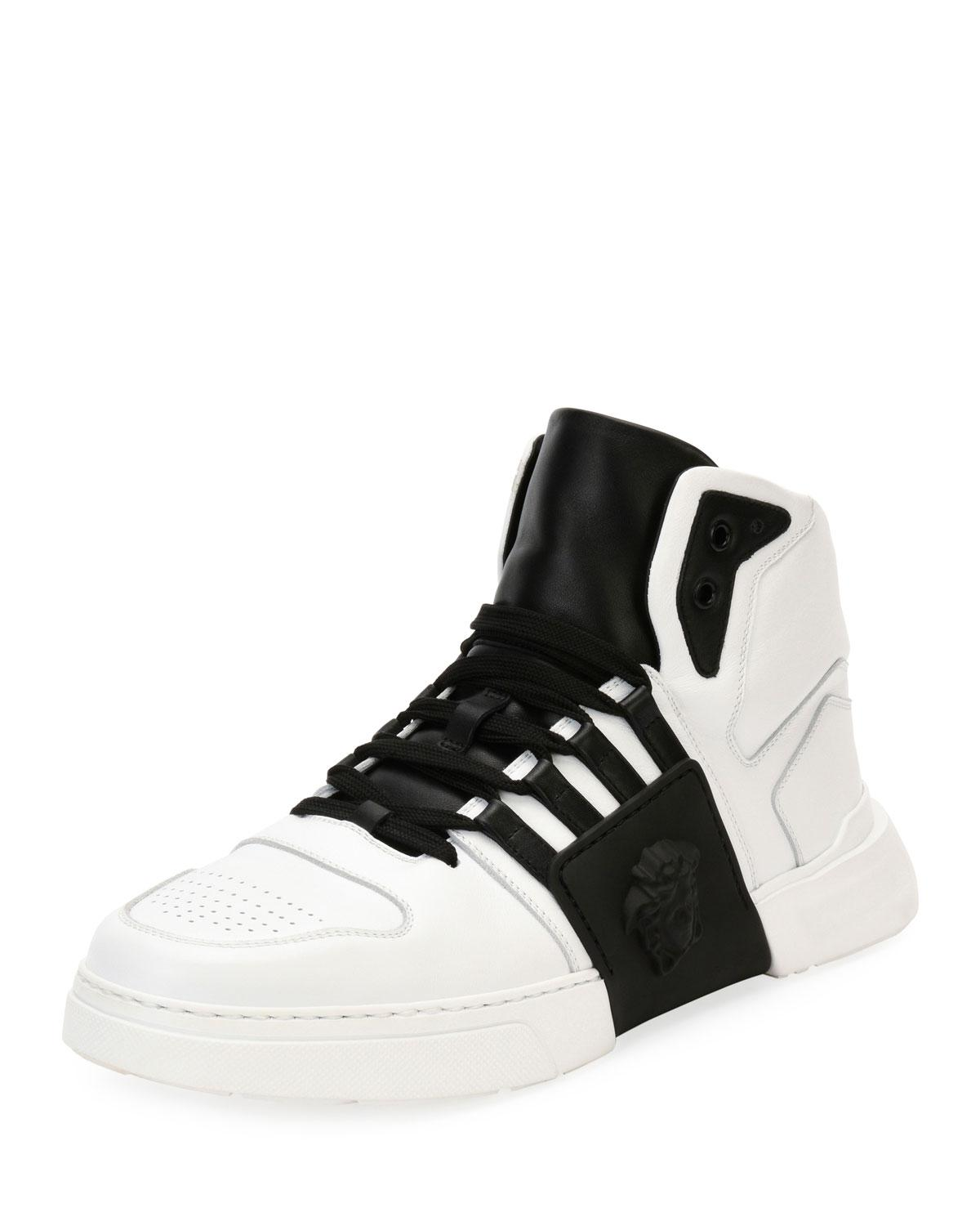 ee31d9e86e209 Versace Men s Fashion Show Medusa-Embossed High-Top Sneakers In White