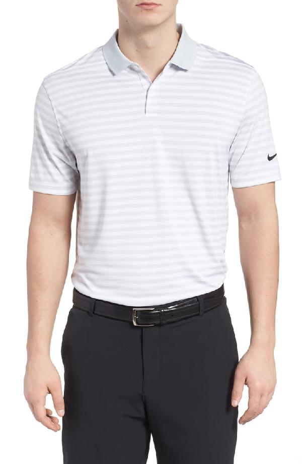 9eebd82e Nike Victory Dri-Fit Stripe Golf Polo In Pure Platinum/ White/ Silver