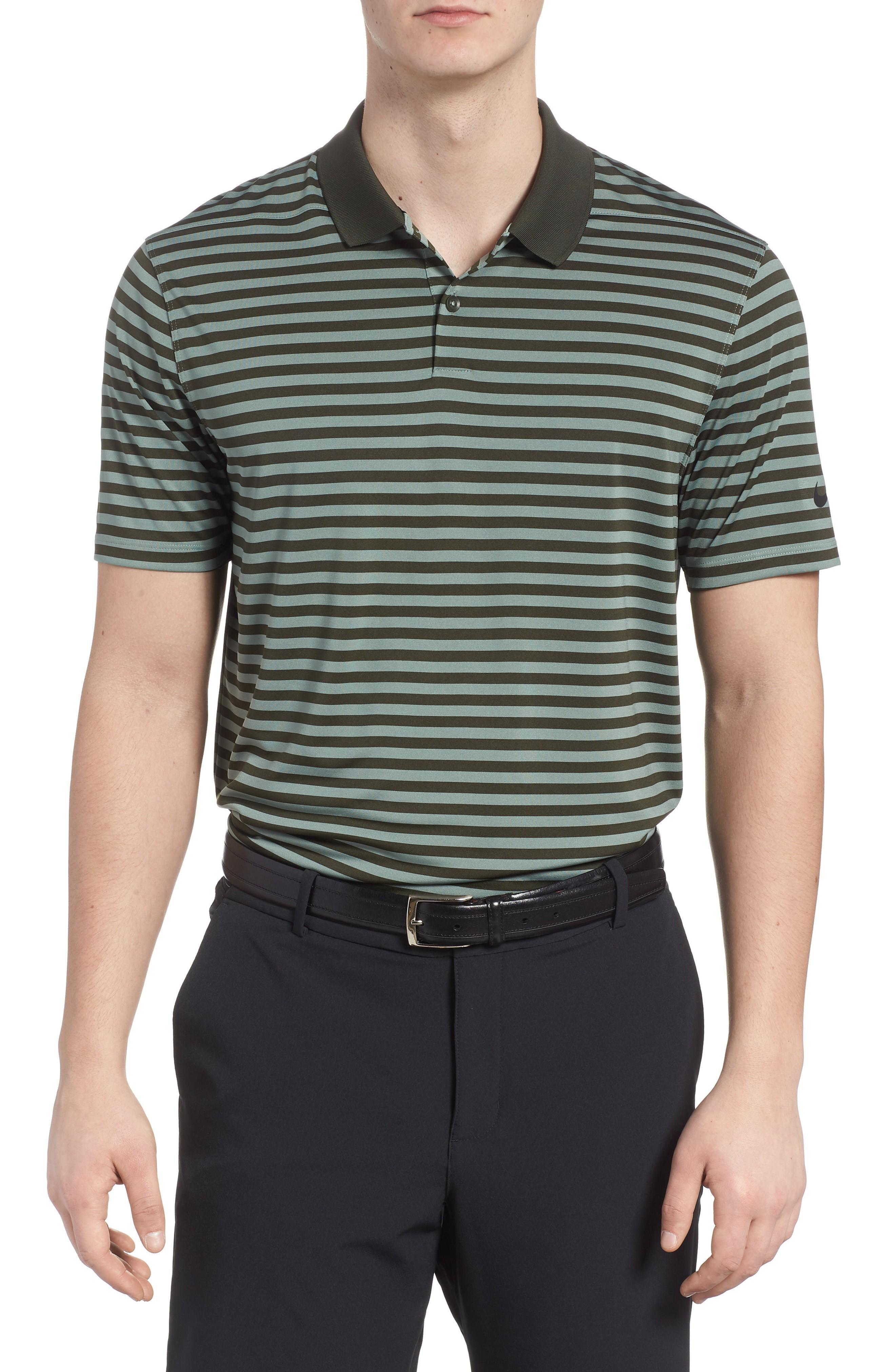 21b9b1a12 Nike Dry Victory Stripe Golf Polo In Sequoia/ Clay Green/ Black ...