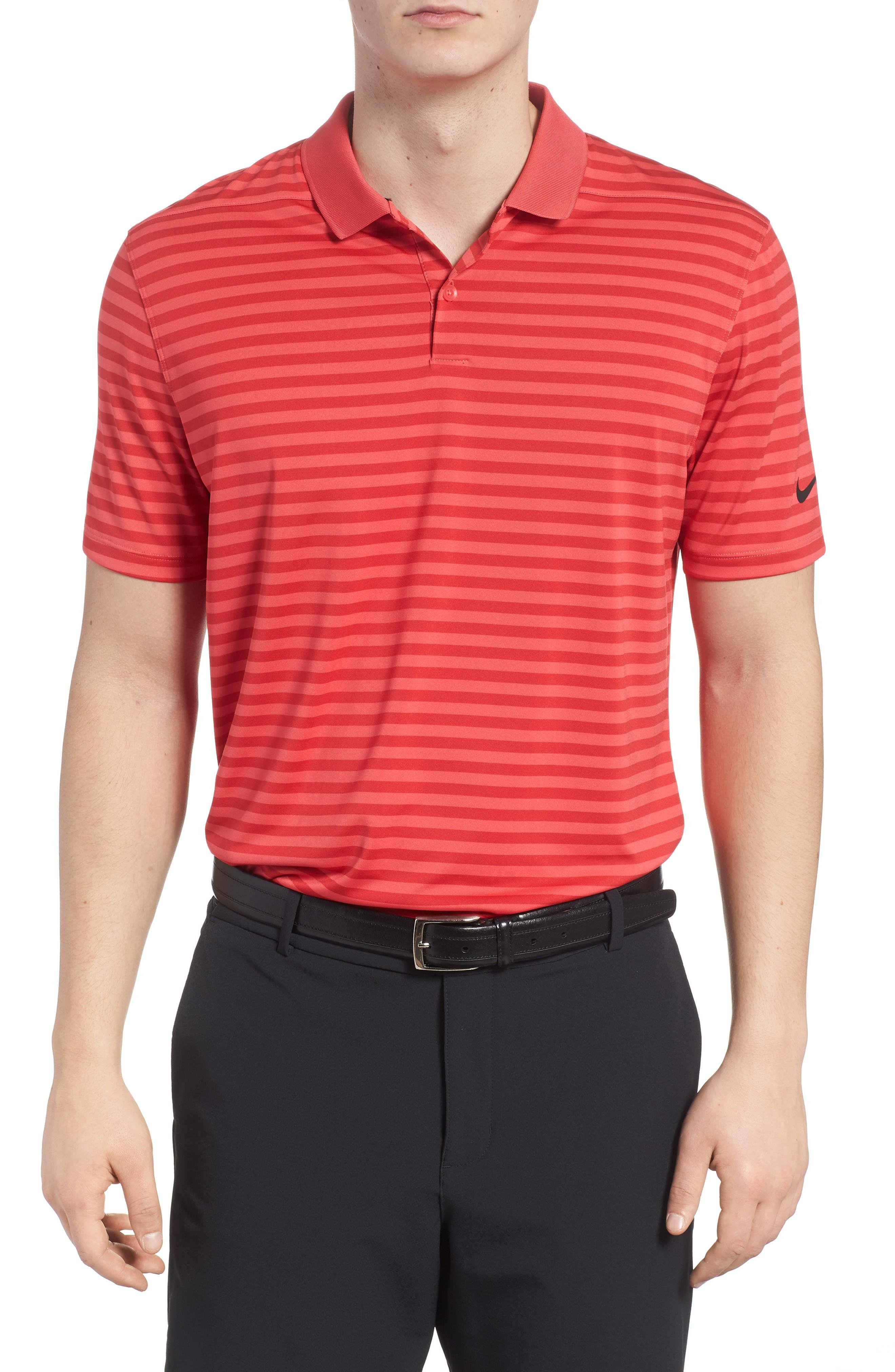 0298770e0 Nike Dry Victory Stripe Golf Polo In Tropical Pink/ Red/ Black ...