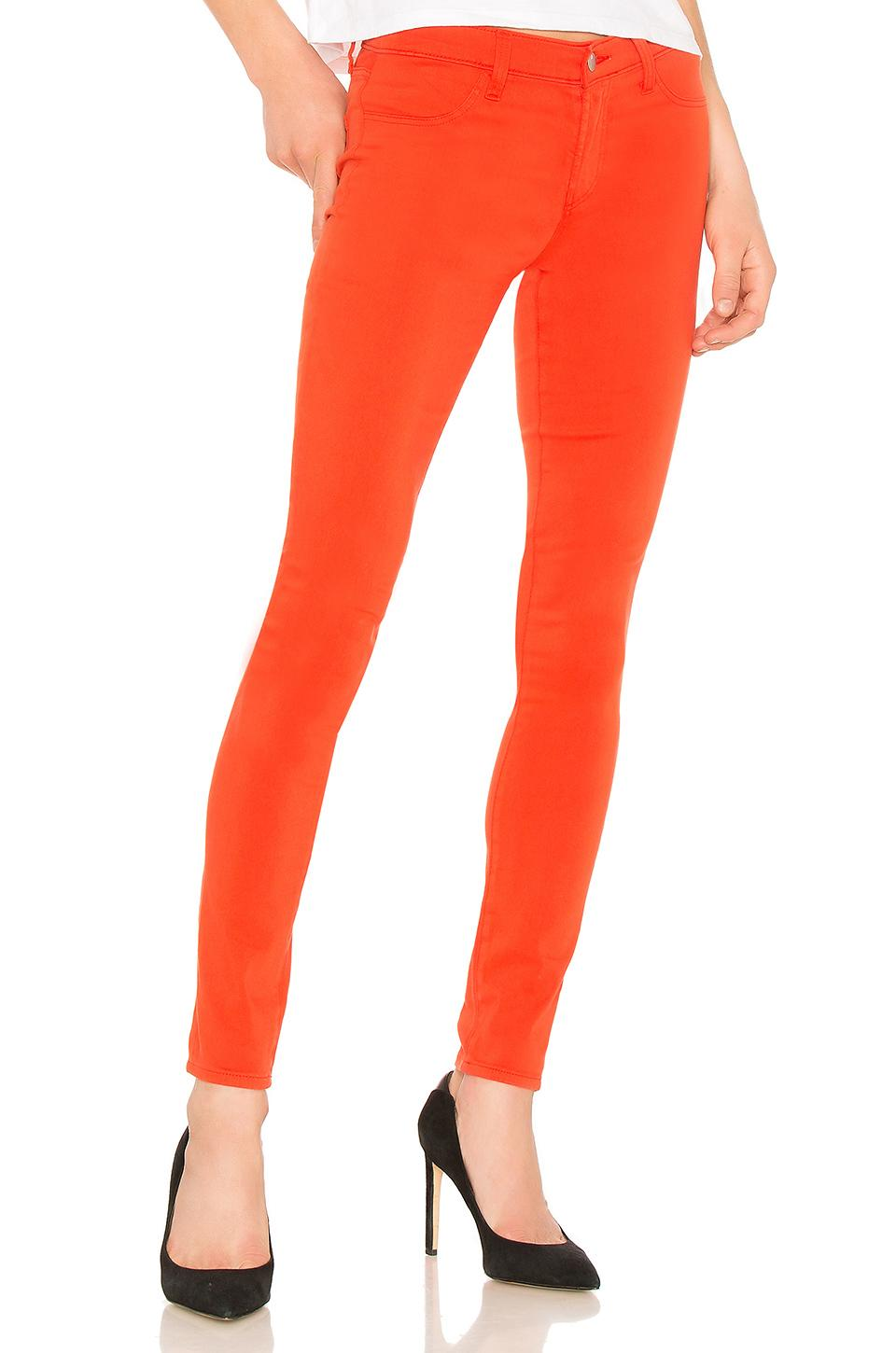 J Brand 485 Mid-rise Super Skinny-leg Jeans In Bright Coral