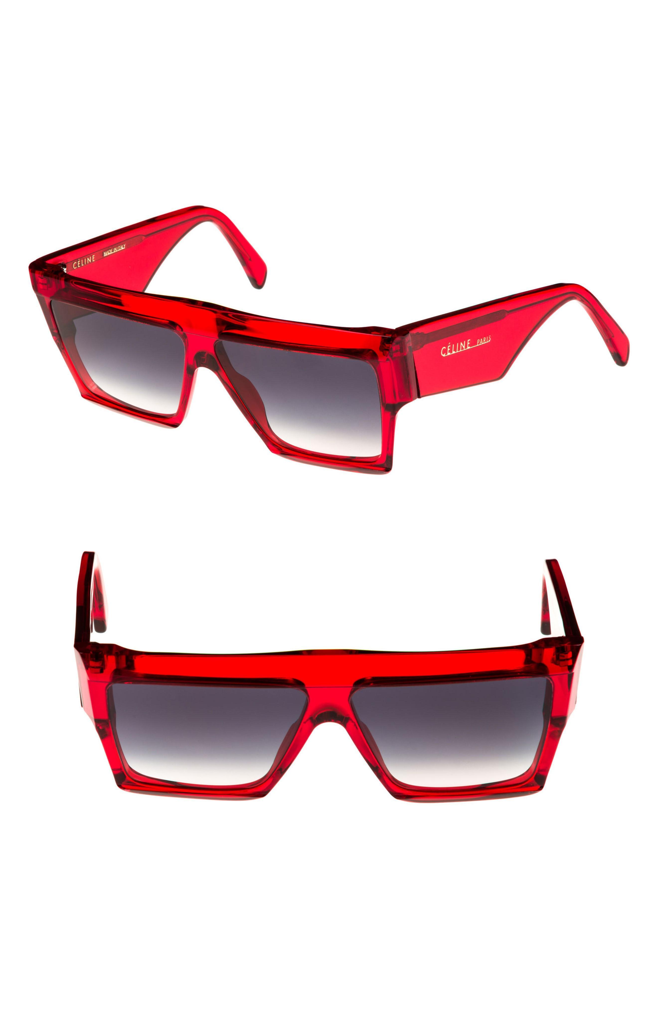 7ec03316c174 Celine 60Mm Flat Top Sunglasses - Transparent Red  Brown