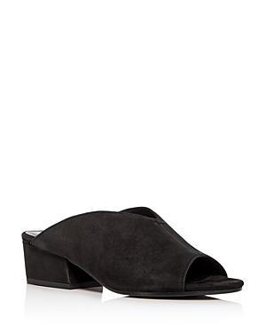 d143b2639099 Eileen Fisher Women S Katniss Nubuck Leather Block Heel Slide Sandals In  Black Tumbled Nubuck