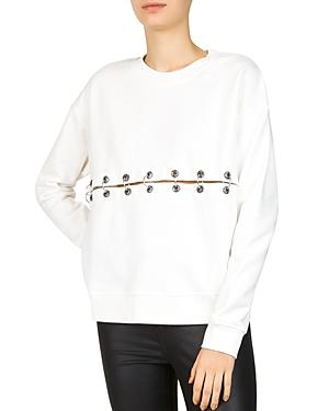 The Kooples Ringed Two-Piece Sweatshirt In Ecru