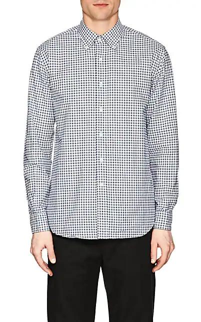 Barneys New York Checked Cotton Shirt In White
