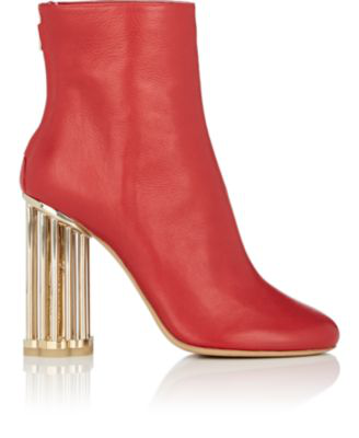 Salvatore Ferragamo Caged-Heel Leather Ankle Boots - Bt. Red
