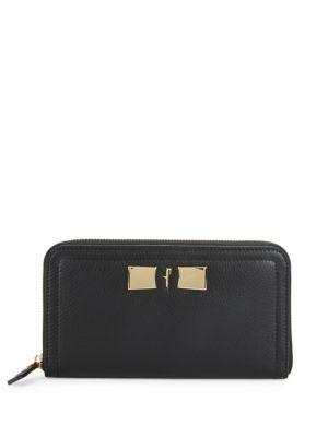 Salvatore Ferragamo Leather Continental Wallet In Black