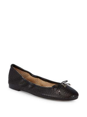 Sam Edelman Felicia Perforated Leather Ballet Flats In Black