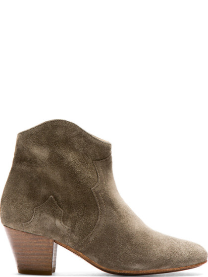 Isabel Marant Dicker Calfskin Velvet Leather Boots In Gray, Green. In Taupe