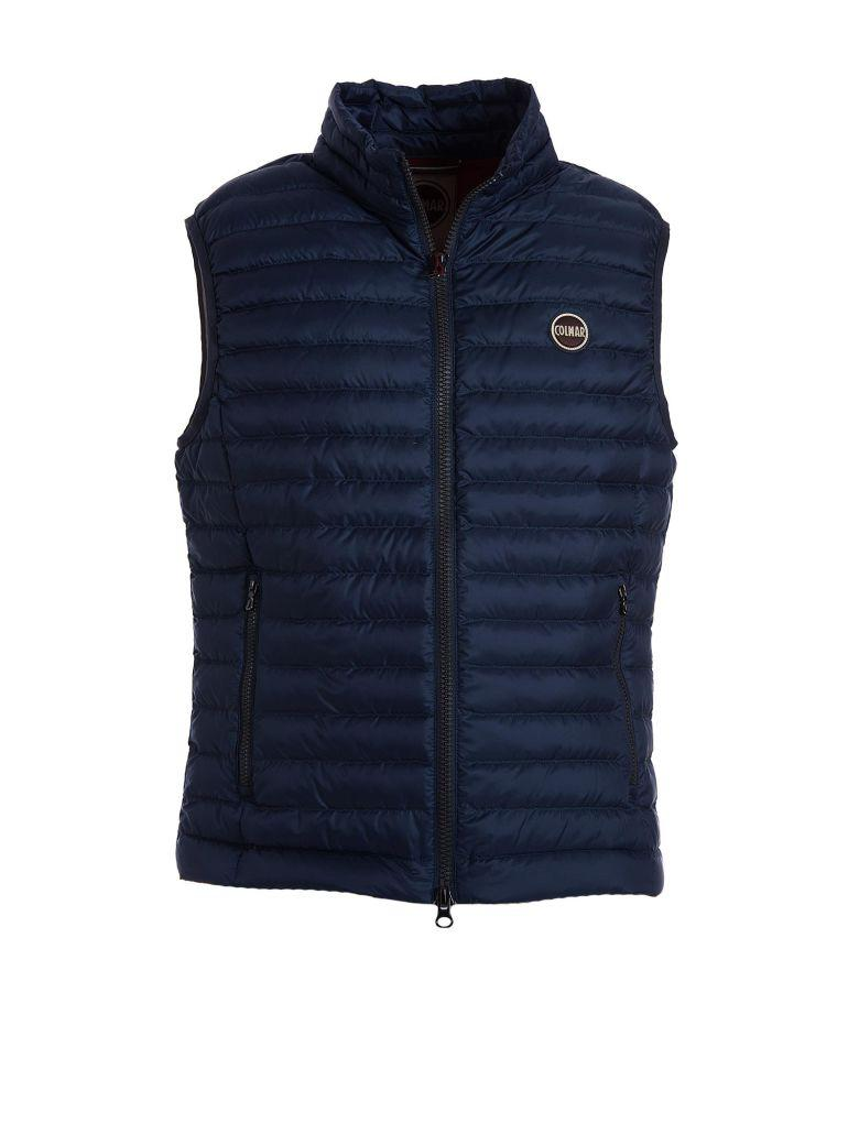 Gilet Style Blue Down Jacket In Avio