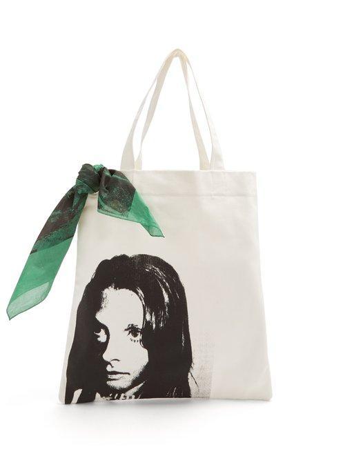 9c294ca670 Calvin Klein 205W39Nyc Face-Print Canvas Tote Bag In White Black ...