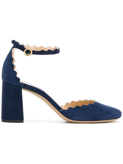 e095370caf1b Her focus on wearable yet beautiful daywear gave the line currency with  chic young women. Blue suede chunky heel pumps from Chloé ...