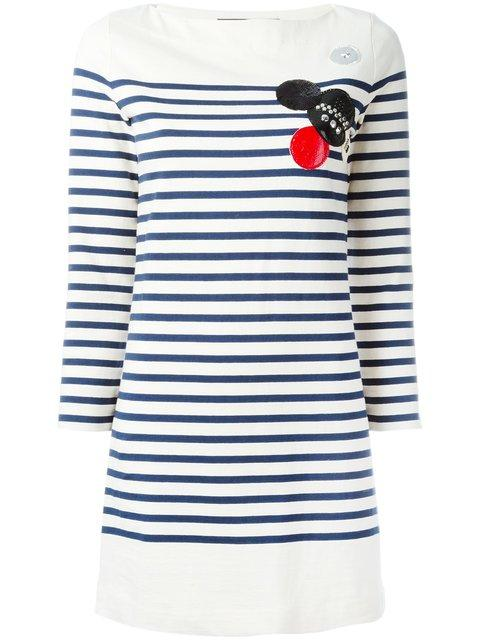 Marc By Marc Jacobs Patched Breton Stripe Dress In Neutrals