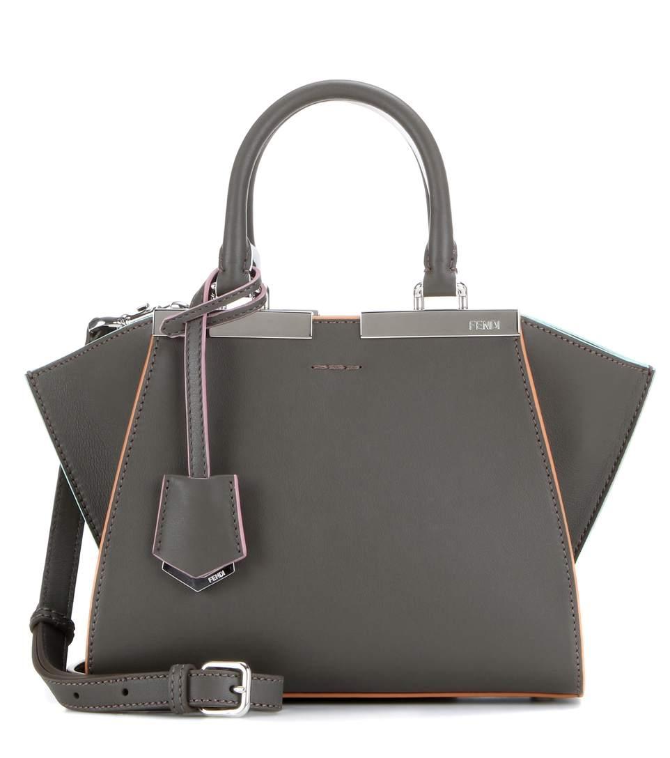 102b8e53f1 Fendi  Mini 3Jours  Calfskin Leather Shopper In Coal Palladium ...