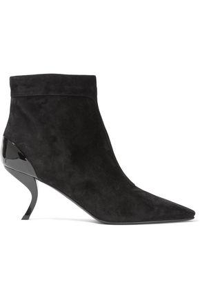 7d36e941 Woman Patent Leather-Paneled Suede Ankle Boots Black