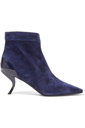 Roger Vivier Woman Patent Leather-Trimmed Suede Ankle Boots Royal Blue