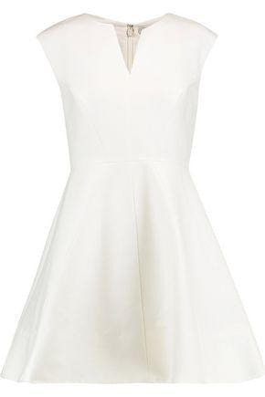 Halston Heritage Cotton And Silk-blend Mini Dress In White