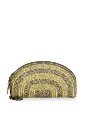 Eric Javits Women's Croissant Striped Metallic Clutch In Gold