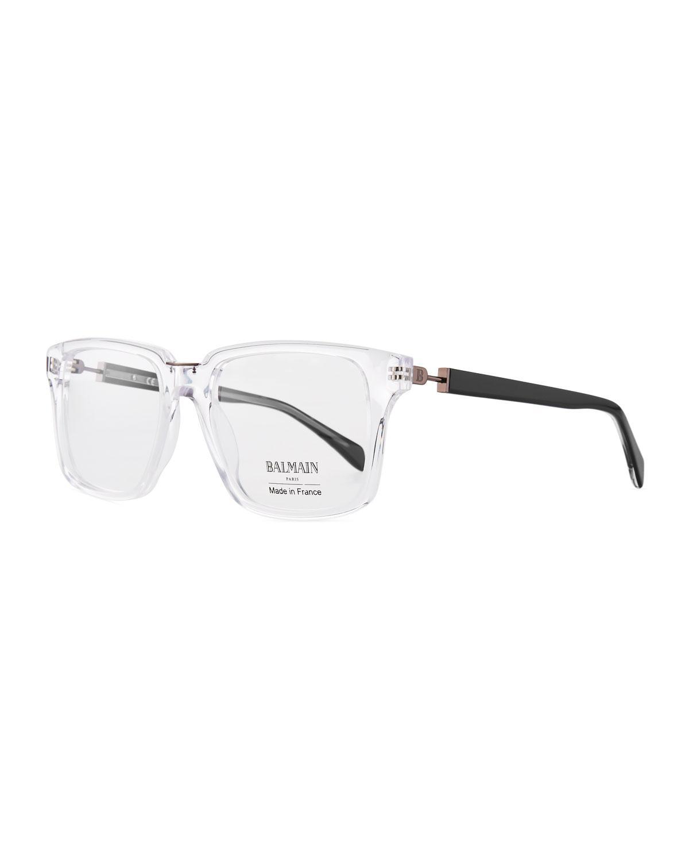 a47d1b1d5 Balmain Clear Acetate Square Optical Glasses In White Pattern | ModeSens
