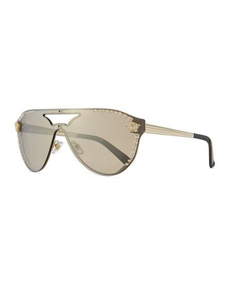 b210ecfde4e Versace Medusa 60Mm Crystal Shield Sunglasses - Gold Mirror In Gold  Mirror Gold