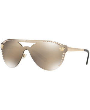 3320eb12a Versace Medusa 60Mm Crystal Shield Sunglasses - Gold Mirror In Gold Mirror/ Gold
