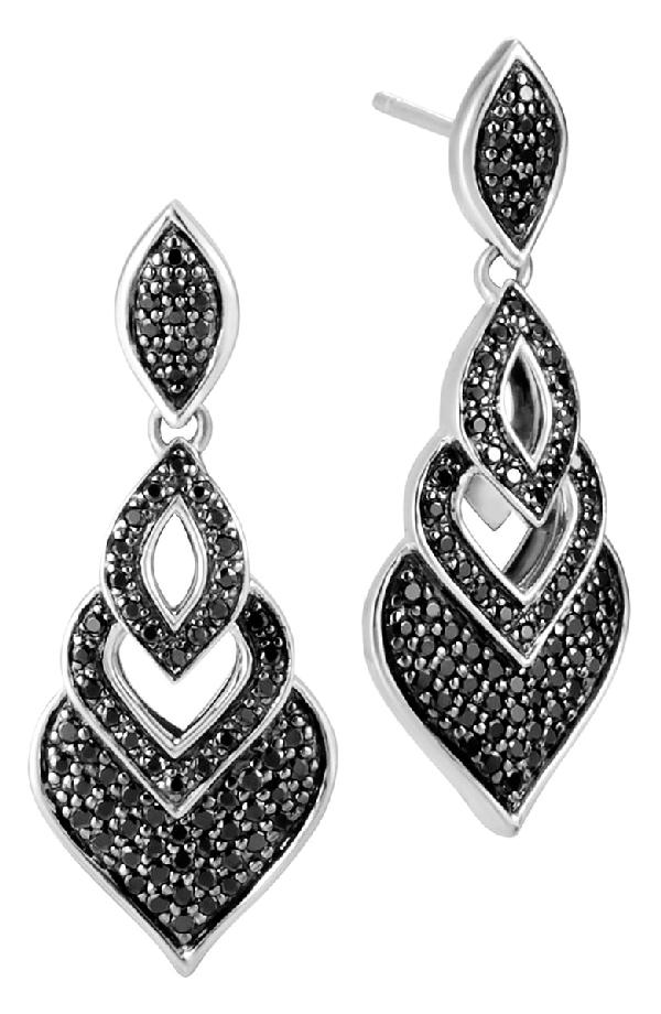 John Hardy Naga Drop Earrings W/ Black Spinel In Silver
