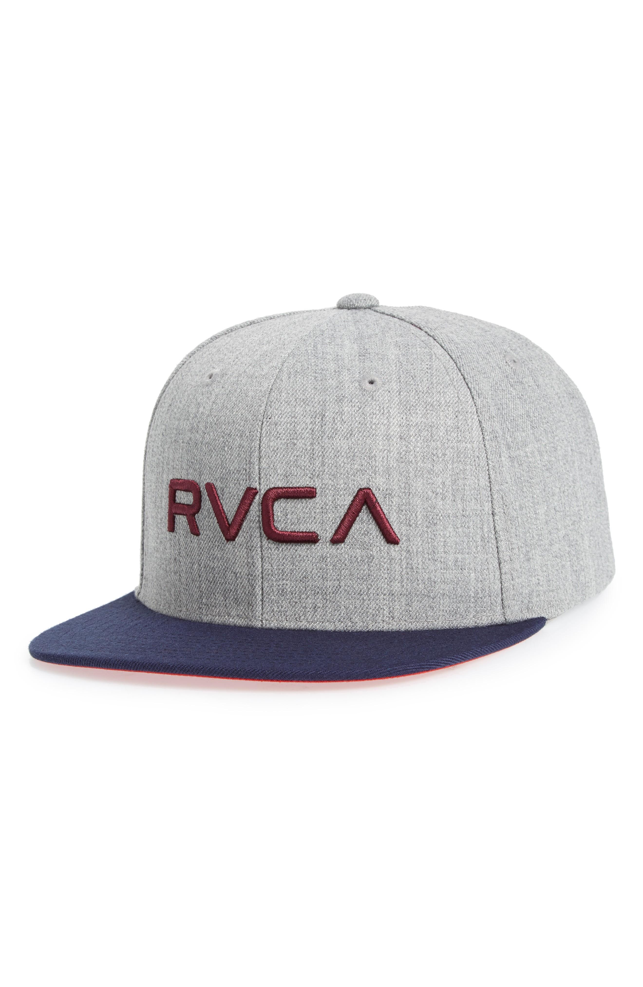new style 3c111 38cb0 Rvca Twill Snapback Baseball Cap - Grey In Heather Grey Blue