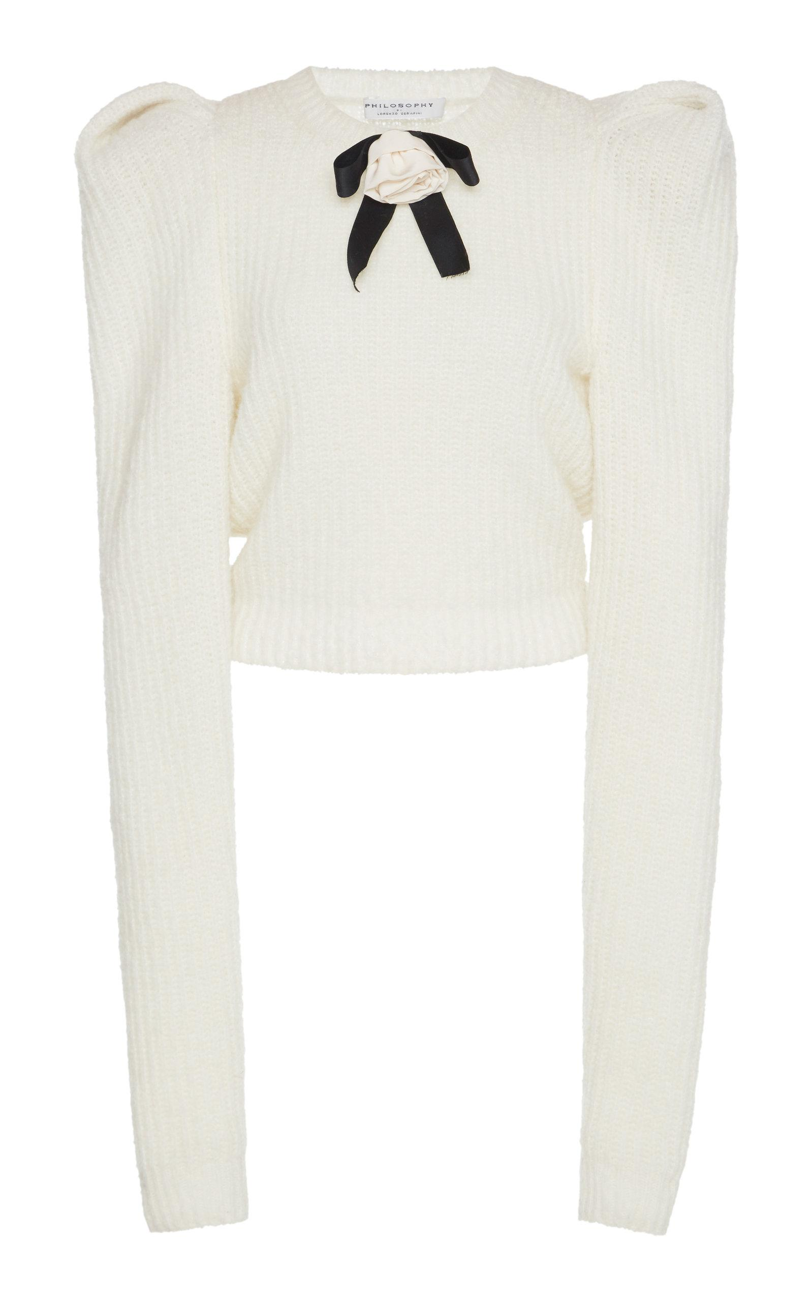 320b133955d7ff Philosophy Di Lorenzo Serafini Floral-AppliquÉD Bow-Embellished Cable-Knit  Sweater In White