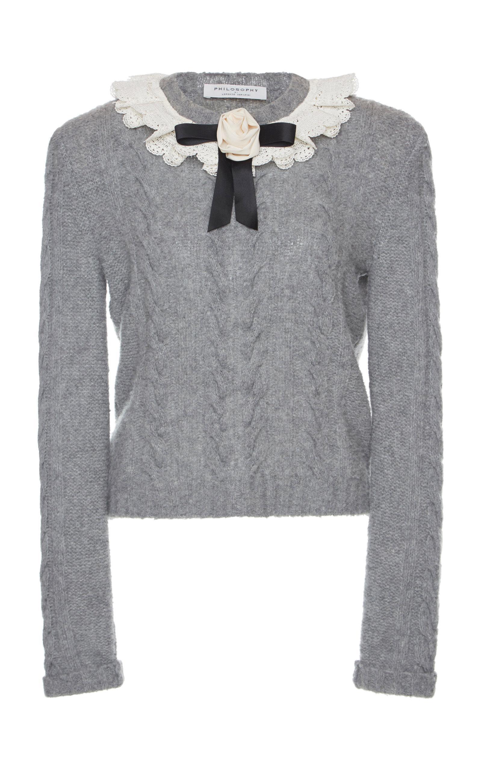 23e09334c917c7 Philosophy Di Lorenzo Serafini Bow Cable Knit Sweater In Grey | ModeSens