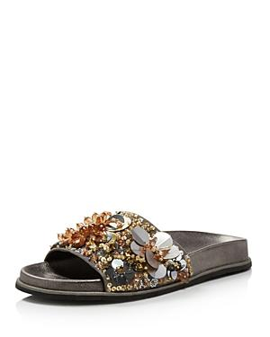 Kenneth Cole Women's Xenia Sequin-Embellished Pool Slide Sandals In Silver Gold