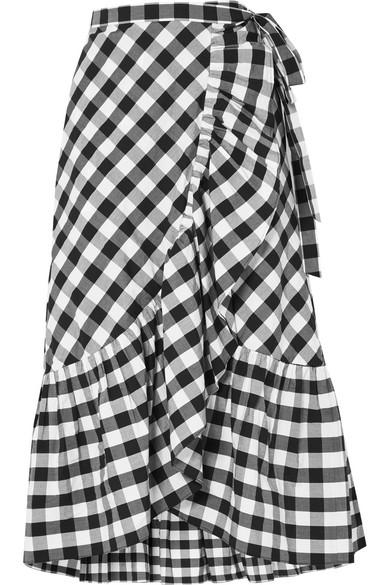 d92390e0876 J.Crew Glo Ruffled Gingham Cotton-Poplin Wrap Skirt In Black