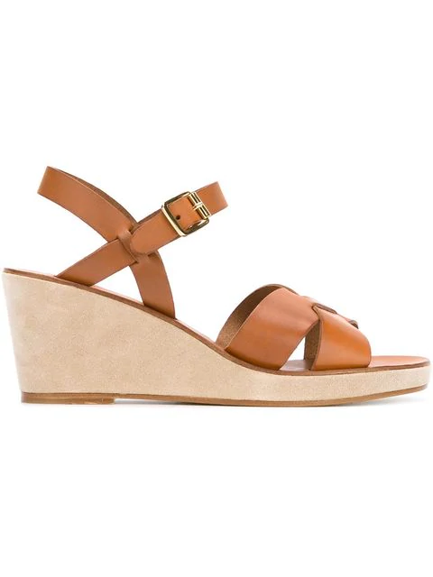 086d4b9ac A.P.C. Judith Leather And Suede Wedge Sandals In Neutrals