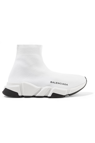 Balenciaga Speed Logo-Print Stretch-Knit High-Top Sneakers In White