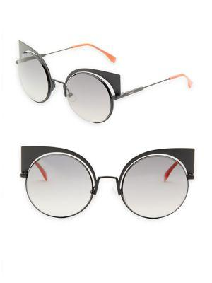 2e1e530e3c Fendi 53Mm Mirrored Cat S-Eye Sunglasses In Dark Grey