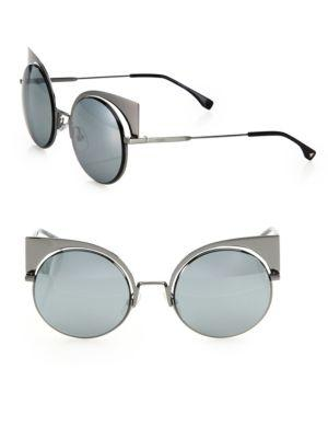 813a412f4f3 Fendi 53Mm Mirrored Cat S-Eye Sunglasses In Dark Ruthenium