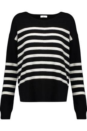Joie Woman Simonne Striped Wool And Cashmere-Blend Sweater Black