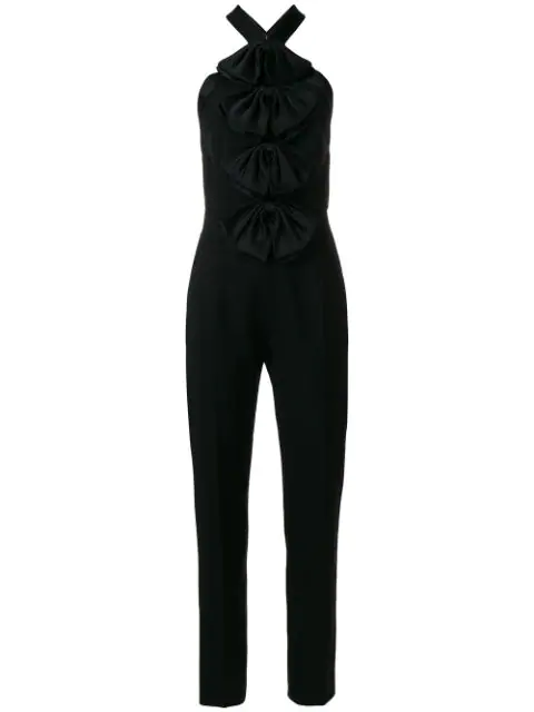 Givenchy Bow-embellished Mohair And Wool-blend Jumpsuit In Black
